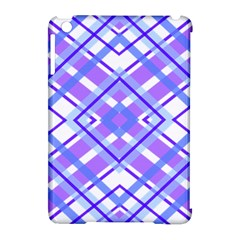 Geometric Plaid Pale Purple Blue Apple Ipad Mini Hardshell Case (compatible With Smart Cover)