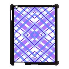 Geometric Plaid Pale Purple Blue Apple Ipad 3/4 Case (black)