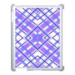 Geometric Plaid Pale Purple Blue Apple Ipad 3/4 Case (white)