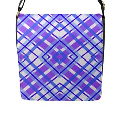 Geometric Plaid Pale Purple Blue Flap Messenger Bag (l)