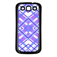 Geometric Plaid Pale Purple Blue Samsung Galaxy S3 Back Case (black)