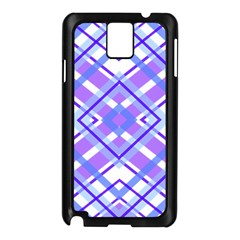 Geometric Plaid Pale Purple Blue Samsung Galaxy Note 3 N9005 Case (Black)