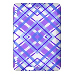 Geometric Plaid Pale Purple Blue Kindle Fire Hdx Hardshell Case