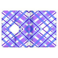 Geometric Plaid Pale Purple Blue Kindle Fire Hdx Flip 360 Case