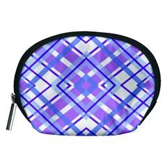 Geometric Plaid Pale Purple Blue Accessory Pouches (medium)