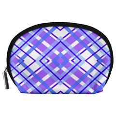 Geometric Plaid Pale Purple Blue Accessory Pouches (large)