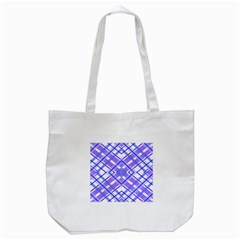Geometric Plaid Pale Purple Blue Tote Bag (white)