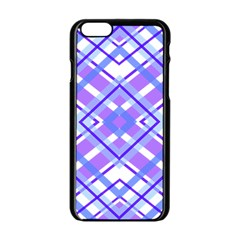 Geometric Plaid Pale Purple Blue Apple Iphone 6/6s Black Enamel Case