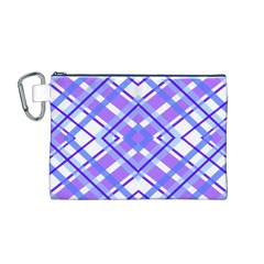 Geometric Plaid Pale Purple Blue Canvas Cosmetic Bag (M)