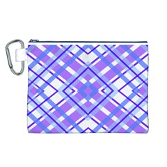 Geometric Plaid Pale Purple Blue Canvas Cosmetic Bag (l)