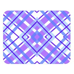 Geometric Plaid Pale Purple Blue Double Sided Flano Blanket (Large)