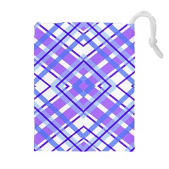 Geometric Plaid Pale Purple Blue Drawstring Pouches (extra Large)