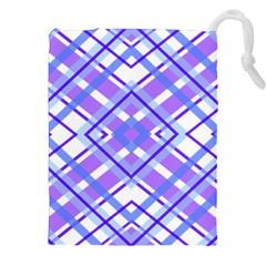 Geometric Plaid Pale Purple Blue Drawstring Pouches (xxl)