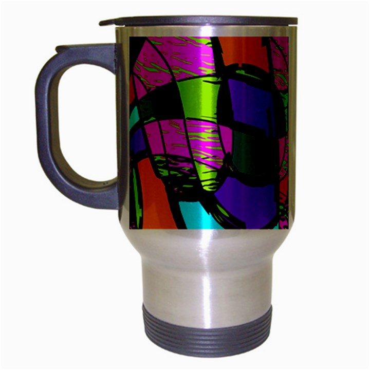 Abstract Art Squiggly Loops Multicolored Travel Mug (Silver Gray)