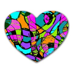 Abstract Art Squiggly Loops Multicolored Heart Mousepads
