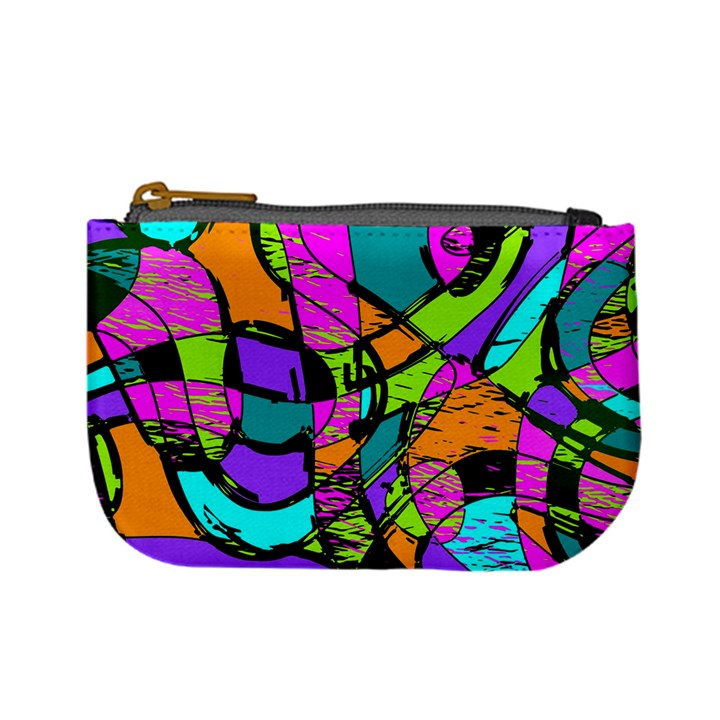 Abstract Art Squiggly Loops Multicolored Mini Coin Purses