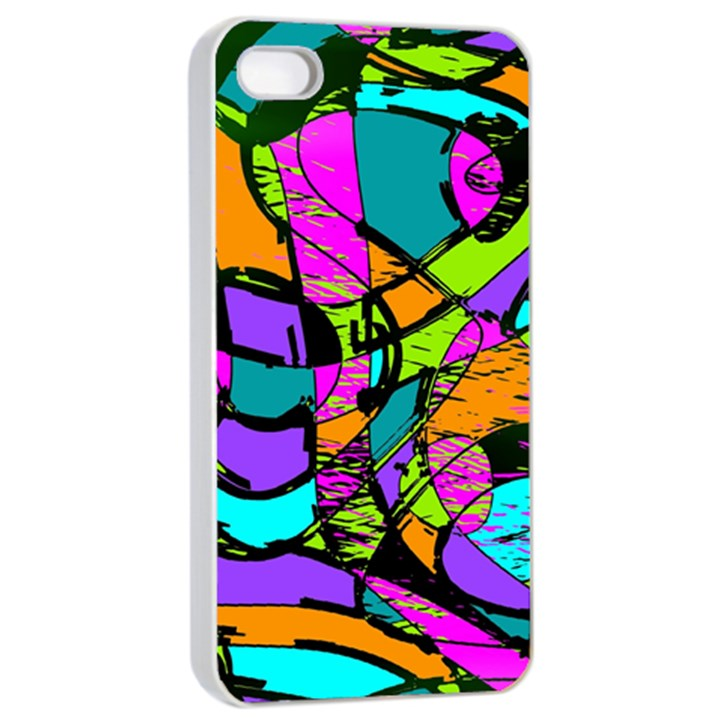 Abstract Art Squiggly Loops Multicolored Apple iPhone 4/4s Seamless Case (White)