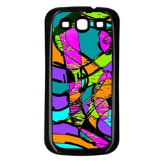 Abstract Art Squiggly Loops Multicolored Samsung Galaxy S3 Back Case (Black)