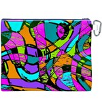 Abstract Art Squiggly Loops Multicolored Canvas Cosmetic Bag (XXXL) Back