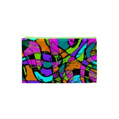 Abstract Art Squiggly Loops Multicolored Cosmetic Bag (xs)