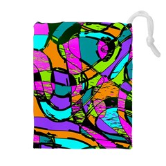 Abstract Art Squiggly Loops Multicolored Drawstring Pouches (extra Large)