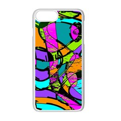 Abstract Art Squiggly Loops Multicolored Apple Iphone 7 Plus White Seamless Case