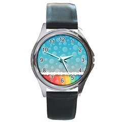 Rainbow Background Border Colorful Round Metal Watch