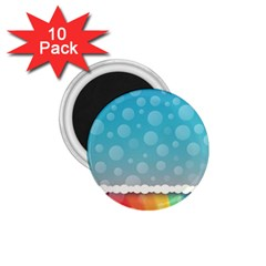 Rainbow Background Border Colorful 1.75  Magnets (10 pack)