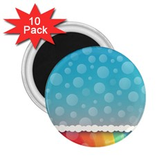 Rainbow Background Border Colorful 2.25  Magnets (10 pack)