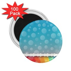 Rainbow Background Border Colorful 2 25  Magnets (100 Pack)