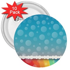 Rainbow Background Border Colorful 3  Buttons (10 Pack)