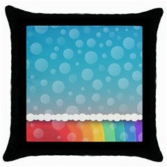 Rainbow Background Border Colorful Throw Pillow Case (black)