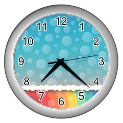 Rainbow Background Border Colorful Wall Clocks (silver)