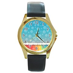 Rainbow Background Border Colorful Round Gold Metal Watch