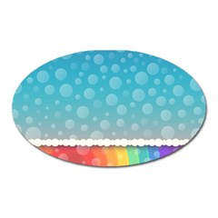 Rainbow Background Border Colorful Oval Magnet