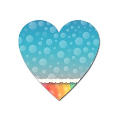 Rainbow Background Border Colorful Heart Magnet