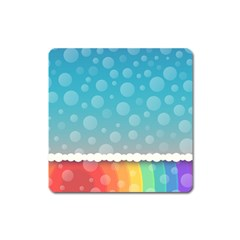 Rainbow Background Border Colorful Square Magnet
