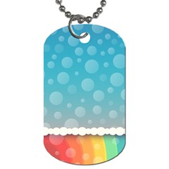 Rainbow Background Border Colorful Dog Tag (two Sides)