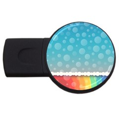 Rainbow Background Border Colorful USB Flash Drive Round (1 GB)