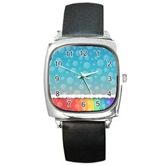 Rainbow Background Border Colorful Square Metal Watch