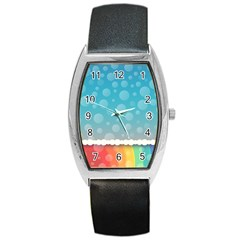 Rainbow Background Border Colorful Barrel Style Metal Watch