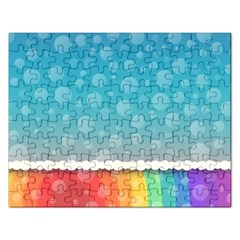 Rainbow Background Border Colorful Rectangular Jigsaw Puzzl