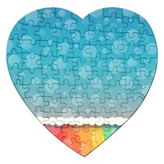 Rainbow Background Border Colorful Jigsaw Puzzle (heart)