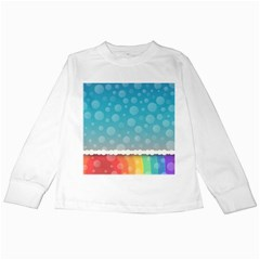 Rainbow Background Border Colorful Kids Long Sleeve T Shirts