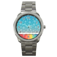 Rainbow Background Border Colorful Sport Metal Watch