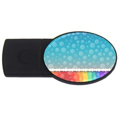 Rainbow Background Border Colorful Usb Flash Drive Oval (4 Gb)