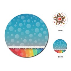 Rainbow Background Border Colorful Playing Cards (round)