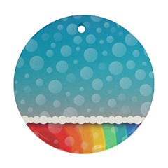 Rainbow Background Border Colorful Round Ornament (two Sides)