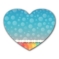 Rainbow Background Border Colorful Heart Mousepads