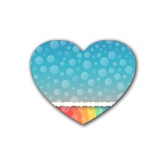 Rainbow Background Border Colorful Rubber Coaster (heart)